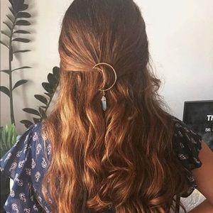 Accessories - Boho Chic Silver Hair Barrette w/ Opalescent Stone